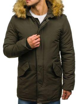Мужская зимняя куртка парка зеленая Bolf YT303