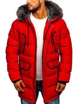 Мужская зимняя куртка парка красная Bolf 1091