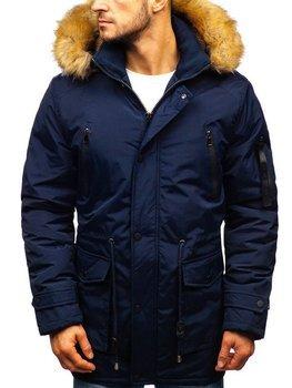 Мужская зимняя куртка парка темно-синяя Bolf R102