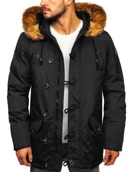 Мужская зимняя куртка парка черная Bolf 1888