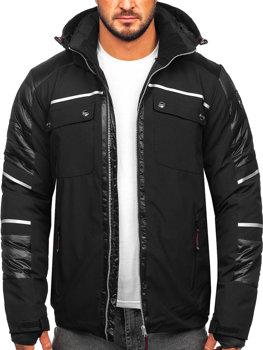 Мужская зимняя куртка софтшелл черная Bolf K33