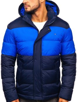 Мужская зимняя спортивная стеганая куртка темно-синяя Bolf 1975