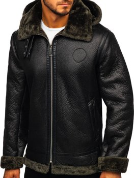 Мужская кожаная куртка на меху черная Bolf 88197