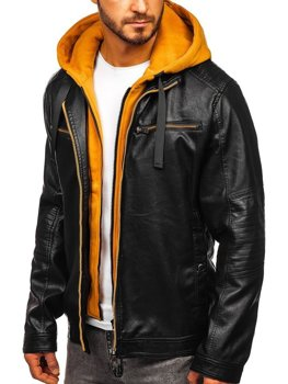 Мужская кожаная куртка с капюшоном черно-желтая Bolf 6129