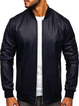 Мужская кожаная куртка темно-синяя Bolf 6122
