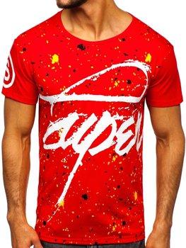Мужская красная футболка с принтом Bolf KS1952
