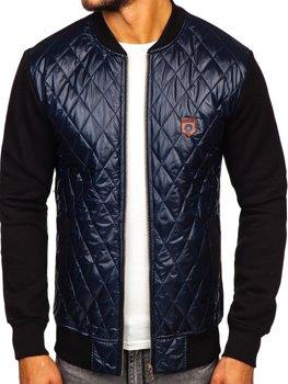 Мужская куртка-бомбер темно-синяя Bolf 2569-2