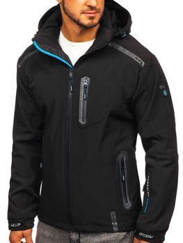 Мужская куртка софтшелл черно-синяя Bolf A5526