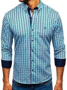 Мужская рубашка виши в клетку с длинным рукавом бирюзовая Bolf 4712
