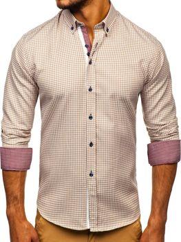 Мужская рубашка в клетку с длинным рукавом бежевая Bolf 9715