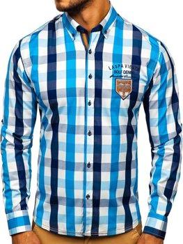 Мужская рубашка в клетку с длинным рукавом голубая Bolf 1766-1