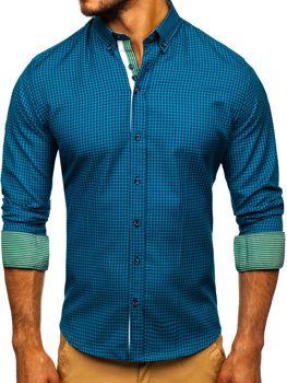 Мужская рубашка в клетку с длинным рукавом зеленая Bolf 9715