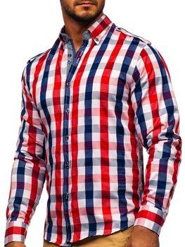 Мужская рубашка в клетку с длинным рукавом красная Bolf 2779