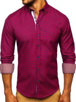 Мужская рубашка в клетку с длинным рукавом красная Bolf 9715