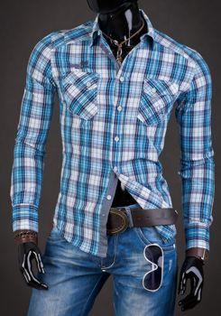 Мужская рубашка в клетку с длинным рукавом синяя Bolf R010
