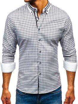 Мужская рубашка в клетку с длинным рукавом черная Bolf 8808