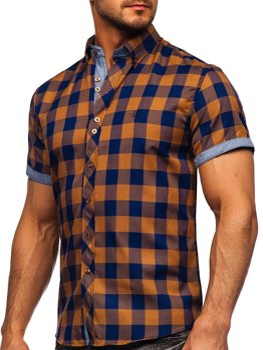 Мужская рубашка в клетку с коротким рукавом коричневая Bolf 6522