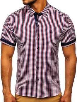 Мужская рубашка в клетку с коротким рукавом красная Bolf 4510
