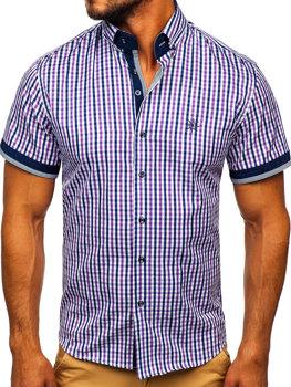 Мужская рубашка в клетку с коротким рукавом фиолетовая Bolf 4510