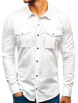 7e6fad382eb Мужская рубашка с длинным рукавом белая Bolf 2058-1
