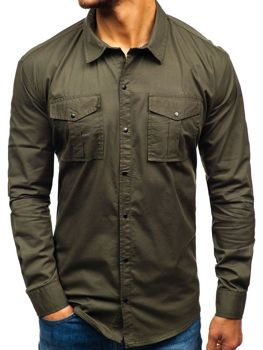 429398cc83d Мужская рубашка с длинным рукавом хаки Bolf 2058-1