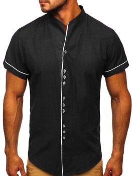 Мужская рубашка с коротким рукавом черная Bolf 5518