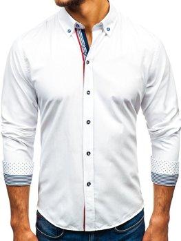 Мужская рубашка с узором и длинным рукавом белая Bolf 8843