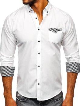 Мужская рубашка элегантная с длинным рукавом белая Bolf 4711