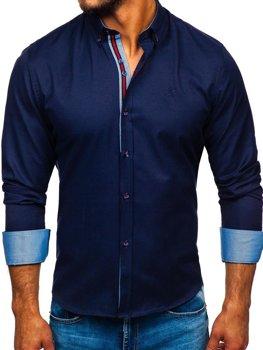 Мужская рубашка элегантная с длинным рукавом темно-синяя Bolf 5801-А