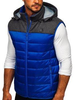 Мужская стеганая безрукавка с капюшоном синяя Bolf AB045