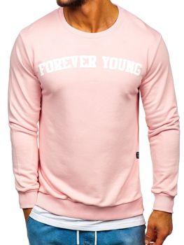 Мужская толстовка без капюшона с принтом розовая Bolf 11116