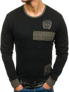 Мужская толстовка без капюшона с принтом черная Bolf NRT535