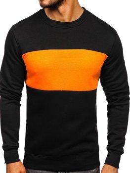 Мужская толстовка без капюшона черно-оранжевая Bolf 2010