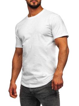 Мужская удлиненная футболка без принта белая Bolf 14290