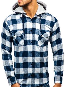 Мужская фланелевая рубашка с длинным рукавом темно-сине-белая Bolf 1031