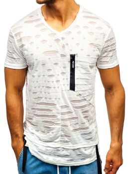 Мужская футболка без принта белая Bolf 313