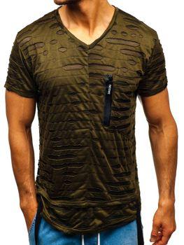 Мужская футболка без принта зеленая Bolf 313