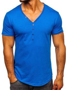 Мужская футболка без принта синяя Bolf 4049