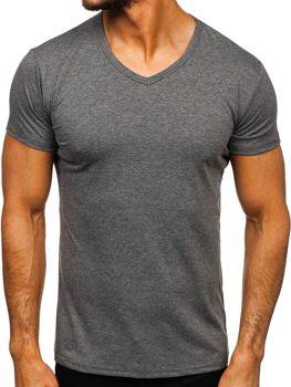 Мужская футболка без принта с v-образным вырезом антрацитовая Bolf 2007