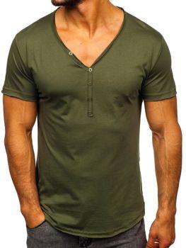 Мужская футболка без принта хаки Bolf 4049