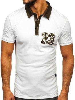 Мужская футболка поло белая Bolf 2058