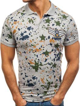 Мужская футболка поло серая Bolf 1106