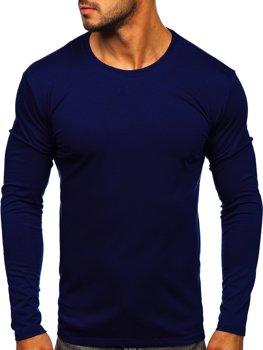 Мужская футболка с длинным рукавом без принта темно-синяя Bolf 2088L