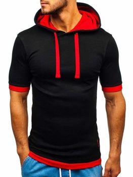 Мужская футболка с капюшоном черно-красная Bolf 08-1