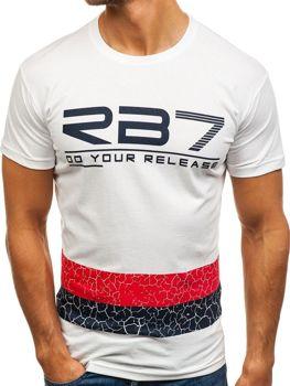 Мужская футболка с принтом белая Bolf 0008