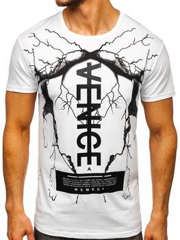 Мужская футболка с принтом белая Bolf 10872