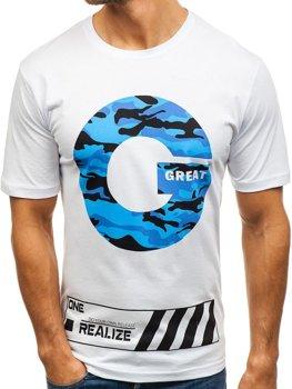Мужская футболка с принтом белая Bolf 6299