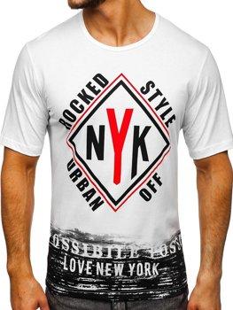 Мужская футболка с принтом белая Bolf 6305