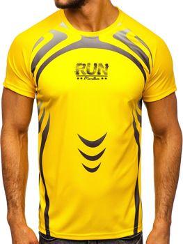 Мужская футболка с принтом желтая Bolf KS2062