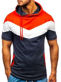 Мужская футболка с принтом и с капюшоном графитовая Bolf 9026